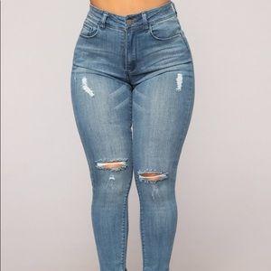 Fashion Nova Medium Wash Skinny Jeans